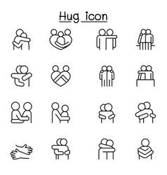 Lover hug friendship relationship icon set in vector