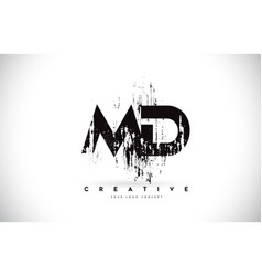 Md m d grunge brush letter logo design in black vector