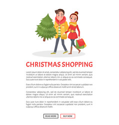 merry couple returns from shopping christmas tree vector image
