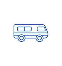 Microbusminibus line icon concept microbus vector