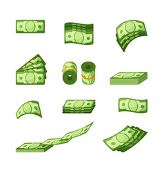 money banknotes single and stacked icons vector image