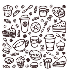 monochrome coffee set doodle style set of coffee vector image