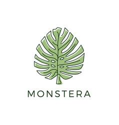 monstera outline logo icon vector image