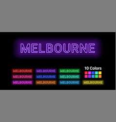 Neon name of melbourne city vector