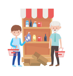 Old man and boy shipping with baskets vector