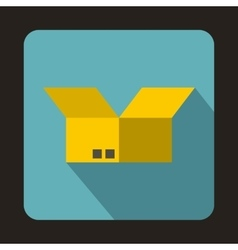 Opened cardboard box icon flat style vector image
