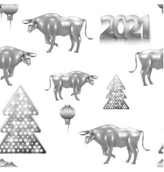 pattern 2021 numbers and new year traditional vector image