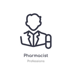 Pharmacist outline icon isolated line from vector