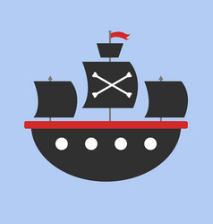 pirate ship on white background vector image