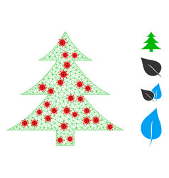 Polygonal mesh fir-tree icon with covid19 elements vector