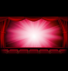 red theater curtain red background vector image