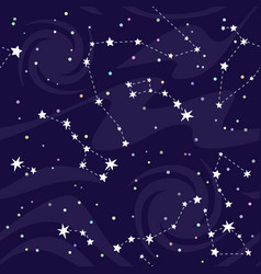 Seamless pattern of constellations on black vector