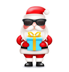 secret santa claus gift box present cute 3d vector image