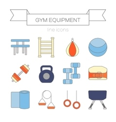 Set of modern flat line icons sports equipment vector