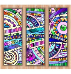 Set of three abstract doodle ethnic tribal hand vector