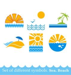 set signs sea beach image vector image