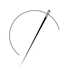 sewing needle icon thread sew vector image