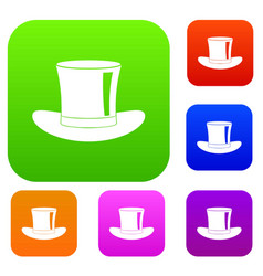 silk hat set color collection vector image