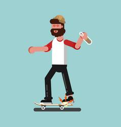 Skater broke his board vector