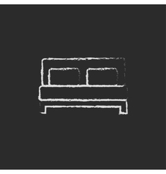 Sofa icon drawn in chalk vector