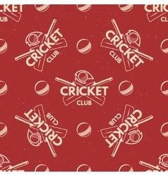 Sport pattern Cricket retro background Seamless vector image