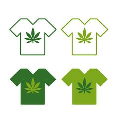 T-shirt set with cannabis leaf emblem t shirt vector