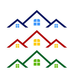 Triple rooftop real estate logo symbol design vector