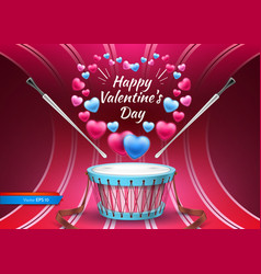valentine day card with drum realistic vector image