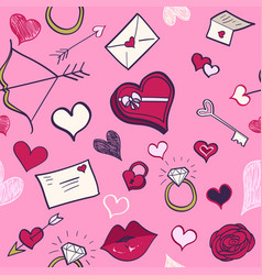 valentines day hand drawn seamless pattern pink vector image