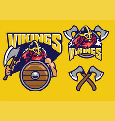 Viking mascot set with axes amd shield vector