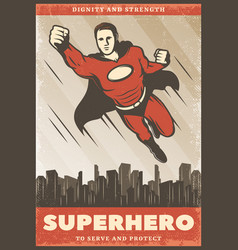 Vintage colored superhero poster vector