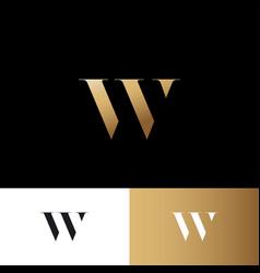 W letter logo gold letter identity vector