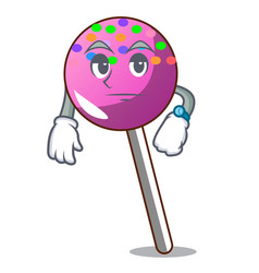 waiting lollipop with sprinkles mascot cartoon vector image