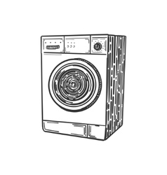 Washing machine engraving style vector image