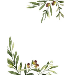 watercolor card olive branches and vector image