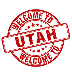 Welcome to utah red round vintage stamp vector