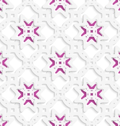 White perforated ornament layered with stars vector image