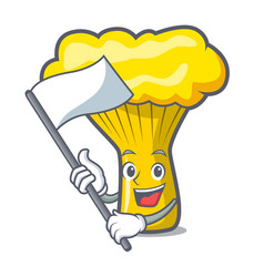 With flag chanterelle mushroom mascot cartoon vector