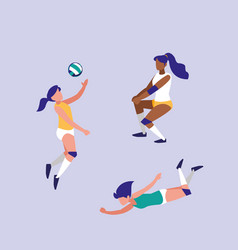 Women practicing volleyball isolated icon vector