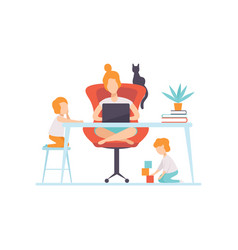Young mother sitting at desk and working on laptop vector