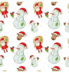 christmas figures seamless white big vector image
