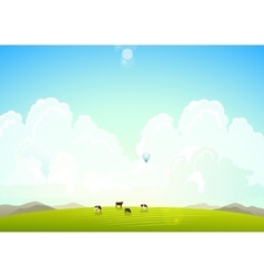 Landscape with mountains hills vector image