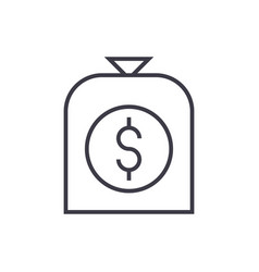 money bag line icon sign on vector image