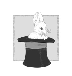 Rabbit in the hat Hand drawing vector image