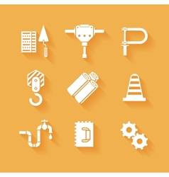 Trendy flat working tools icons white silhouettes vector image