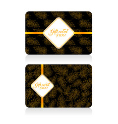 Black gift cards with golden decor feather pattern vector