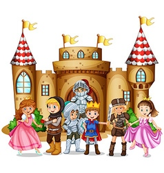 Characters from fairytales and castle vector image vector image