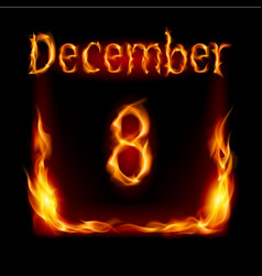 eighth december in calendar of fire icon on black vector image vector image