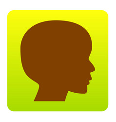 people head sign brown icon at green vector image vector image