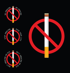 stop smoking sign on black background vector image vector image